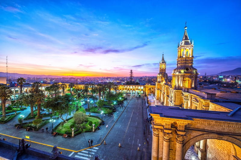 Night falling on the Plaza de Armas in the historic center of Arequipa, Peru